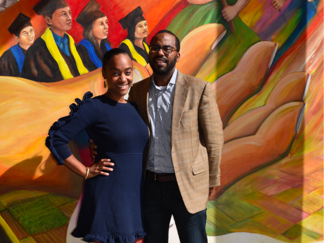 Torry and Maisha outside UC Davis SCC mural