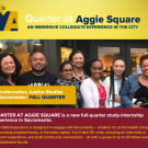 Fall flyer for Quarter @ Aggie Square Classes with an image of smiling faces in the middle panel.